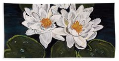 White Water Lily Hand Towel