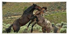 Wild Mustang Stallions Fighting Hand Towel