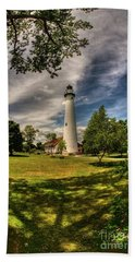 Wind Point Lighthouse Bath Towel by David Bearden