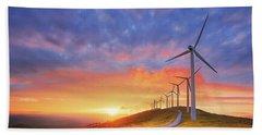 wind turbines in Oiz eolic park Hand Towel
