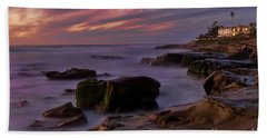 Windansea Beach At Dusk Hand Towel by Eddie Yerkish