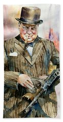 Winston Churchill Portrait Hand Towel