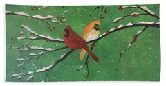 Bath Towel featuring the painting Winter Cardinals by Denise Tomasura