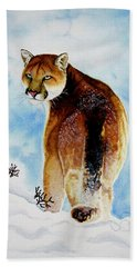 Winter Cougar Hand Towel
