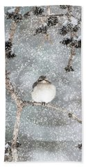 Winter Mockingbird Hand Towel
