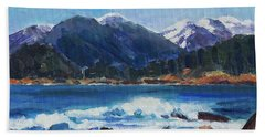 Hand Towel featuring the painting Winter Mountains Alaska by Yulia Kazansky