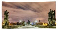 Winter Night At Charles Bridge, Prague, Czech Republic Hand Towel