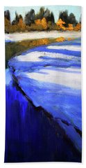 Hand Towel featuring the painting Winter River by Nancy Merkle