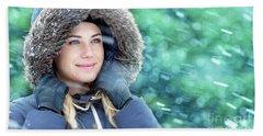 Winter Woman Portrait Hand Towel