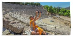 Woman Photographer Selfie Bath Towel