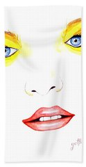 Woman Scent Watercolor Painting Bath Towel
