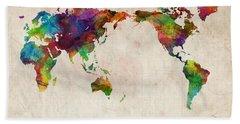 World Map Urban Watercolor Pacific Hand Towel