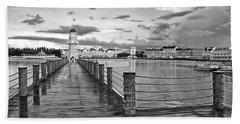 Yacht And Beach Lighthouse In Black And White Walt Disney World Mp Bath Towel