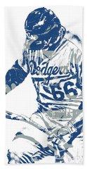 Yasiel Puig Los Angeles Dodgers Pixel Art 10 Hand Towel