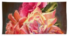 Yellow And Pink Roses Bath Towel