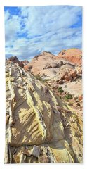 Yellow Brick Road In Valley Of Fire Bath Towel by Ray Mathis
