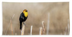 Yellow Headed Blackbird Hand Towel