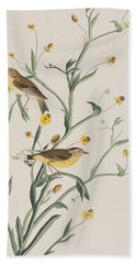 Yellow Red-poll Warbler Hand Towel by John James Audubon