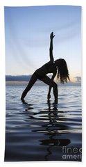 Yoga On The Coastline Hand Towel