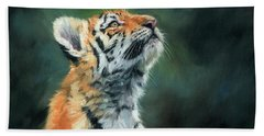 Hand Towel featuring the painting Young Amur Tiger by David Stribbling