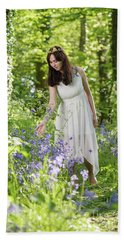 Young Woman In Bluebell Woodland Bath Towel