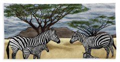 Zebra African Outback  Hand Towel by Peter Piatt