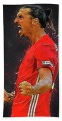 Zlatan Ibrahimovic Hand Towel by Semih Yurdabak