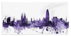 Barcelona Spain Skyline Hand Towel