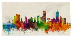 Boston Massachusetts Skyline Hand Towel by Michael Tompsett
