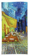 Cafe Terrace At Night Hand Towel