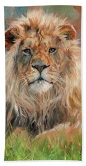 Hand Towel featuring the painting Lion by David Stribbling