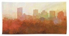 Hand Towel featuring the digital art Phoenix Arizona Skyline by Marlene Watson