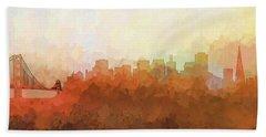 Hand Towel featuring the digital art San Francisco California Skyline by Marlene Watson