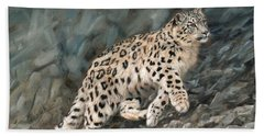 Hand Towel featuring the painting Snow Leopard by David Stribbling