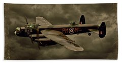 Bath Towel featuring the photograph 103 Squadron Avro Lancaster by Steven Agius