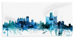Detroit Michigan Skyline Bath Towel