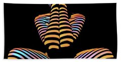 1183s-mak Hands Over Face Zebra Striped Woman Rendered In Composition Style Bath Towel
