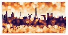 Paris France Skyline Hand Towel by Michael Tompsett