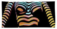 1205s-mak Seated Figure Zebra Striped Nude Rendered In Composition Style Bath Towel