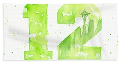 12th Man Seahawks Art Go Hawks Hand Towel