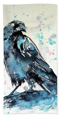 Hand Towel featuring the painting Crow by Kovacs Anna Brigitta