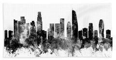 Los Angeles California Skyline Hand Towel by Michael Tompsett