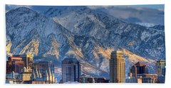 Salt Lake City Skyline Bath Towel by Utah Images