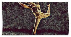 Hand Towel featuring the digital art 1315s-zac Beautiful Nude Dancer Leaping Rendered  In The Style Of Antonio Bravo by Chris Maher