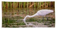 White, Great Egret Bath Towel