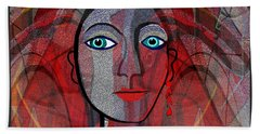 1459 Cubic Lady Face Bath Towel by Irmgard Schoendorf Welch