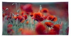 Summer Poppy Meadow Hand Towel