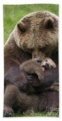 Mother Bear Cuddling Cub Bath Towel