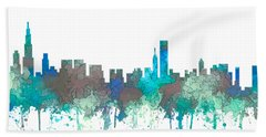 Hand Towel featuring the digital art Chicago Illinois Skyline by Marlene Watson