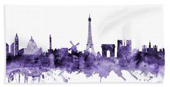 Paris France Skyline Hand Towel